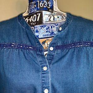 Crochet-inset denim shirt dress.